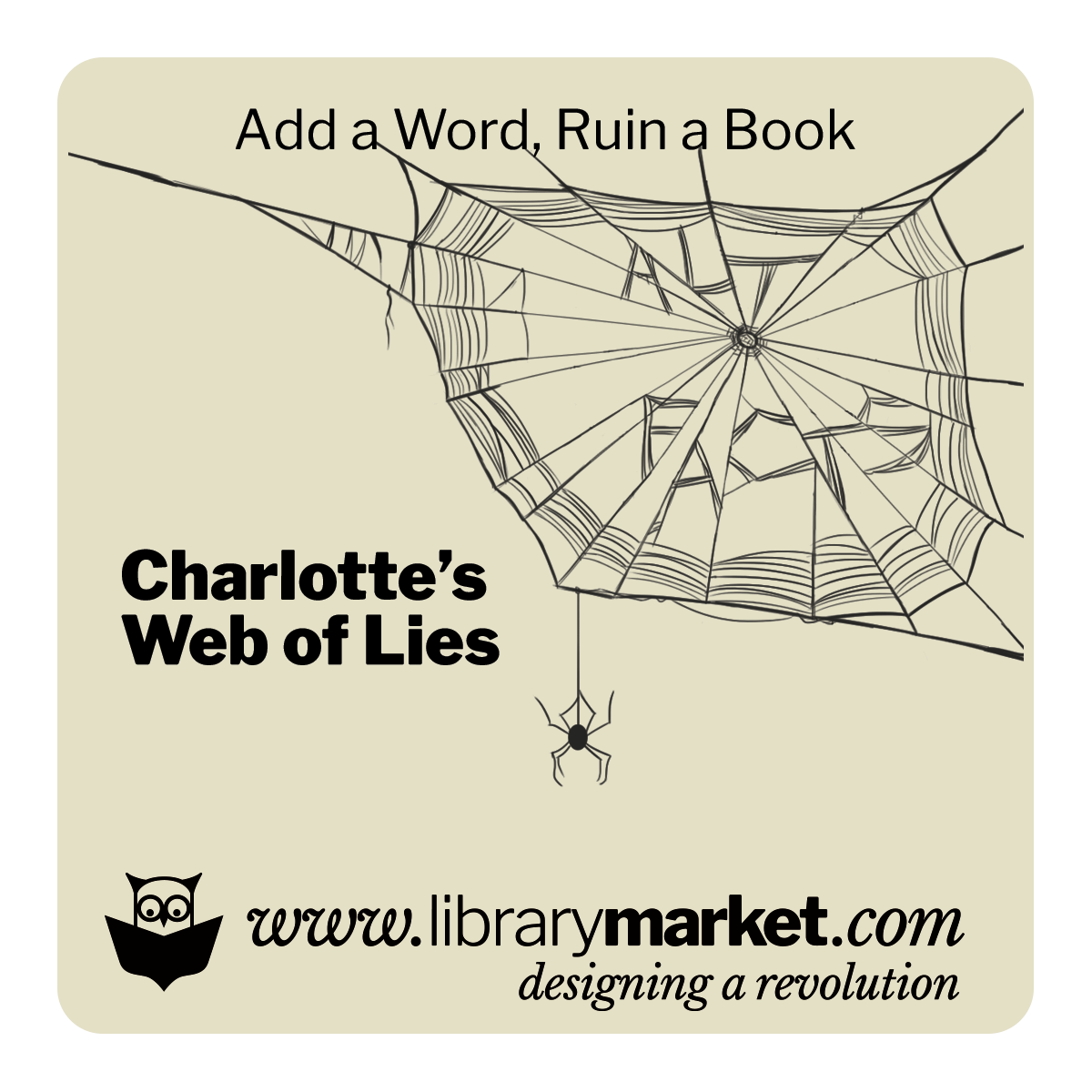 Library Market Add-a-Word Coaster - Charlottes Web of Lies