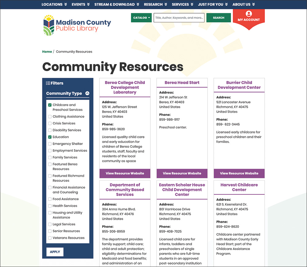 Madison County Public Library community resources screenshot