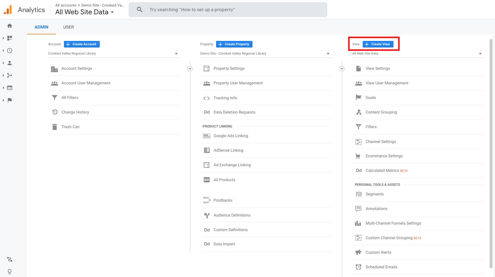 Screenshot - Google Analytics Admin Dashboard