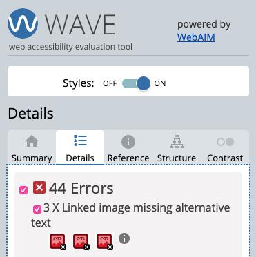 Screenshot - WAVE evaluation tool