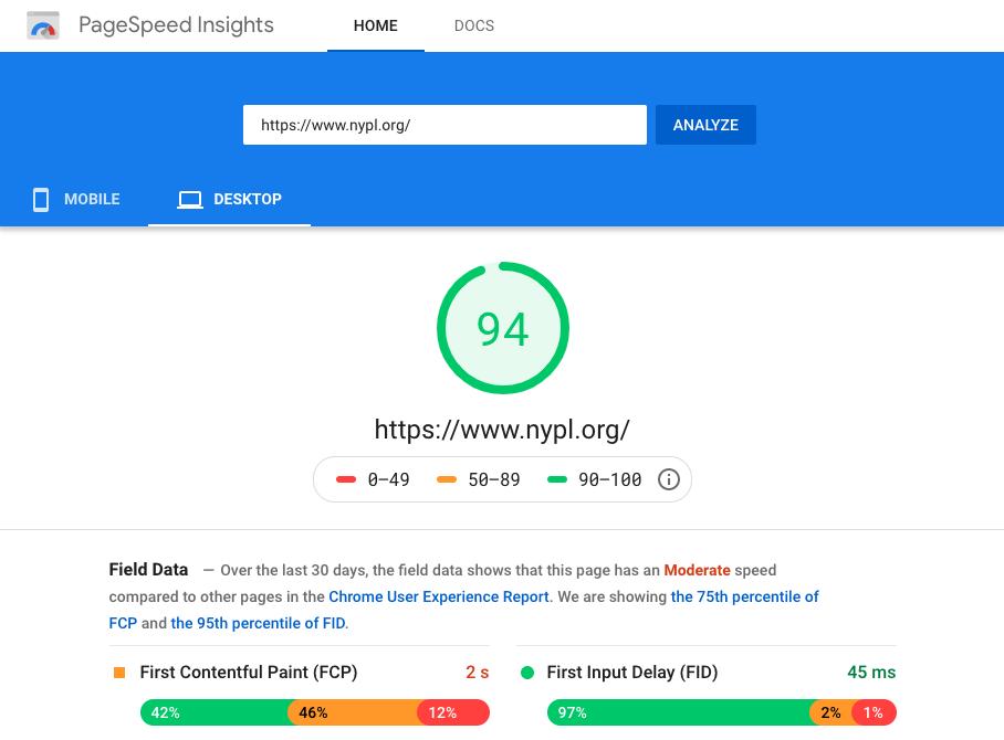 Screenshot - Google PageSpeed Insights Test Results for Desktop
