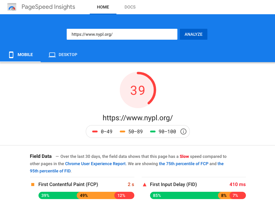 Screenshot - Google PageSpeed Insights Test Results for Mobile