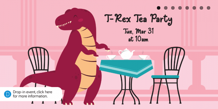 Helen Plum Library's T-Rex Tea Party Slide