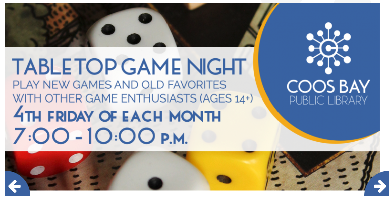 Coos Bay Public Library's Tabletop Game Night Slide